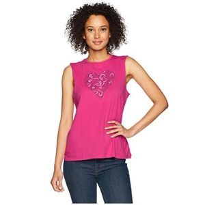 NWT Life is Good Swirly Hearts pink tank top